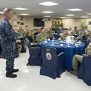 WEDNESDAY, OCTOBER 4- 2017--- - SAN JUAN, PUERTO RICO - <br /> Kevin Buckley, US NAVY Commanding Officer US Navy Ship Comfort Medical Treatment Facility, talks during a presentation aboard the US Naval Hospital Ship Comfort at the Port of San Juan where it started treating patients affected by Hurricane Maria.<br /> (Photo by Angel Valentin for NPR)