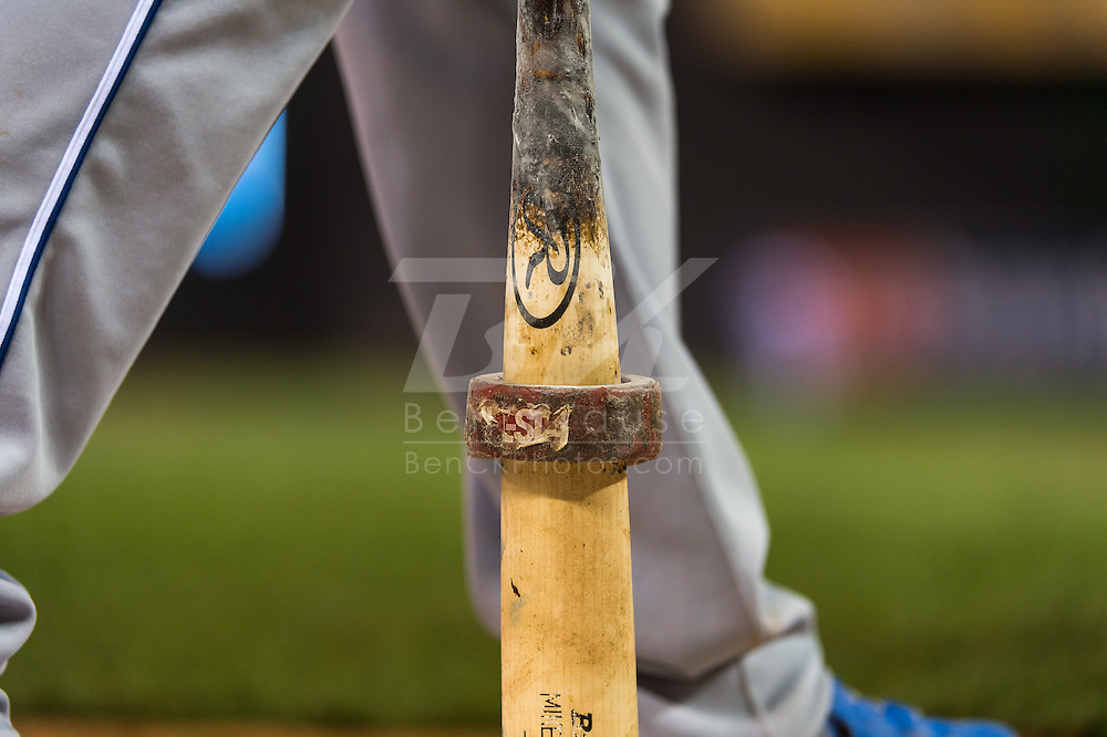 A close up view of the bat belonging to Mike Moustakas #8 of the Kansas City Royals during a game against the Minnesota Twins on June 27, 2013 at Target Field in Minneapolis, Minnesota.  The Twins defeated the Royals 3 to 1.  Photo by Ben Krause