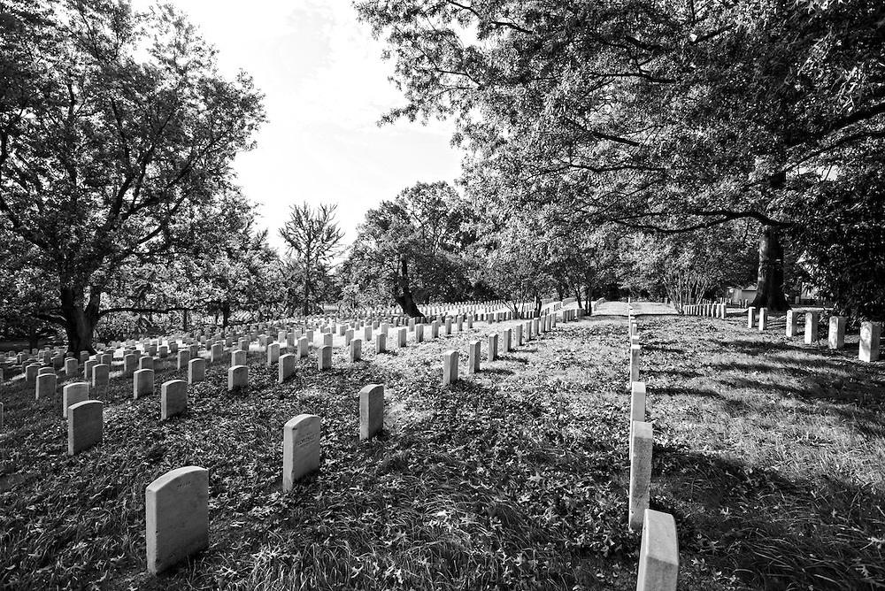 Arlington Cemetery headstones, black and white