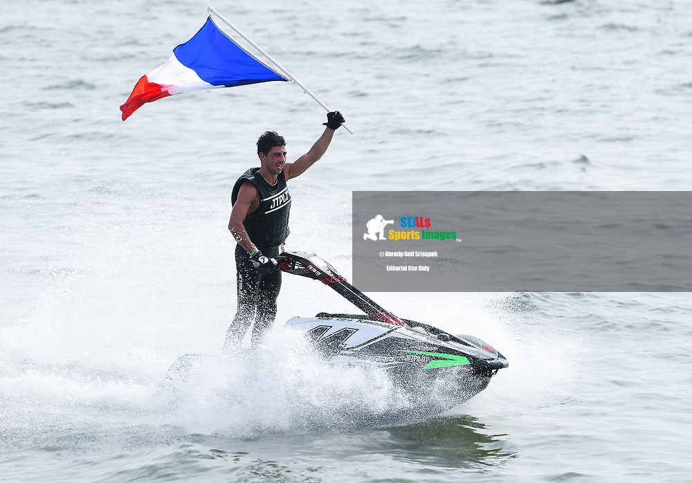 PATTAYA, THAILAND - DECEMBER 09: Ralphael Maurin of France and Pastorello Competition celebrate after winning the Pro Ski Grandprix Moto4 at the Thai Airways International Jet Ski World Cup 2018, Jomtien Beach, Pattaya, Thailand on December 09, 2018. <br /> .<br /> .<br /> .<br /> (Photo by: Naratip Golf Srisupab/SEALs Sports Images)<br /> .<br /> Any image use must include a mandatory credit line adjacent to the content which should read: Naratip Golf Srisupab/SEALs Sports Images