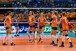 19-10-2018 JPN: Semi Final World Championship Volleyball Women day 20, Yokohama<br /> Serbia - Netherlands / Anne Buijs #11 of Netherlands, Nicole Koolhaas #22 of Netherlands, Lonneke Sloetjes #10 of Netherlands, Laura Dijkema #14 of Netherlands