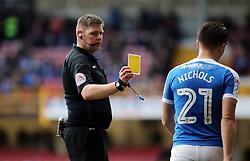 Tom Nichols of Peterborough United is shown a yellow card by match referee Brett Huxtable - Mandatory by-line: Joe Dent/JMP - 04/03/2017 - FOOTBALL - Coral Windows Stadium - Bradford, England - Bradford City v Peterborough United - Sky Bet League One