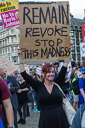 "Thousands of pro-democracy protesters gather in Parliament Square, London for a ""Stop The Coup"" Protest as inside the House of Commons British Prime Minister Boris Johnson faces an attempt by MPs to wrest control of the Parliamentary Order Paper from the government. London, September 03 2019."