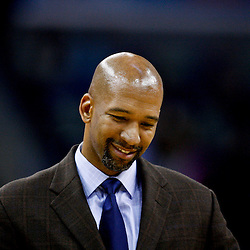 Jan 9, 2013; New Orleans, LA, USA; New Orleans Hornets head coach Monty Williams against the Houston Rockets during the second quarter of a game at the New Orleans Arena. The Hornets defeated the Rockets 88-79. Mandatory Credit: Derick E. Hingle-USA TODAY Sports
