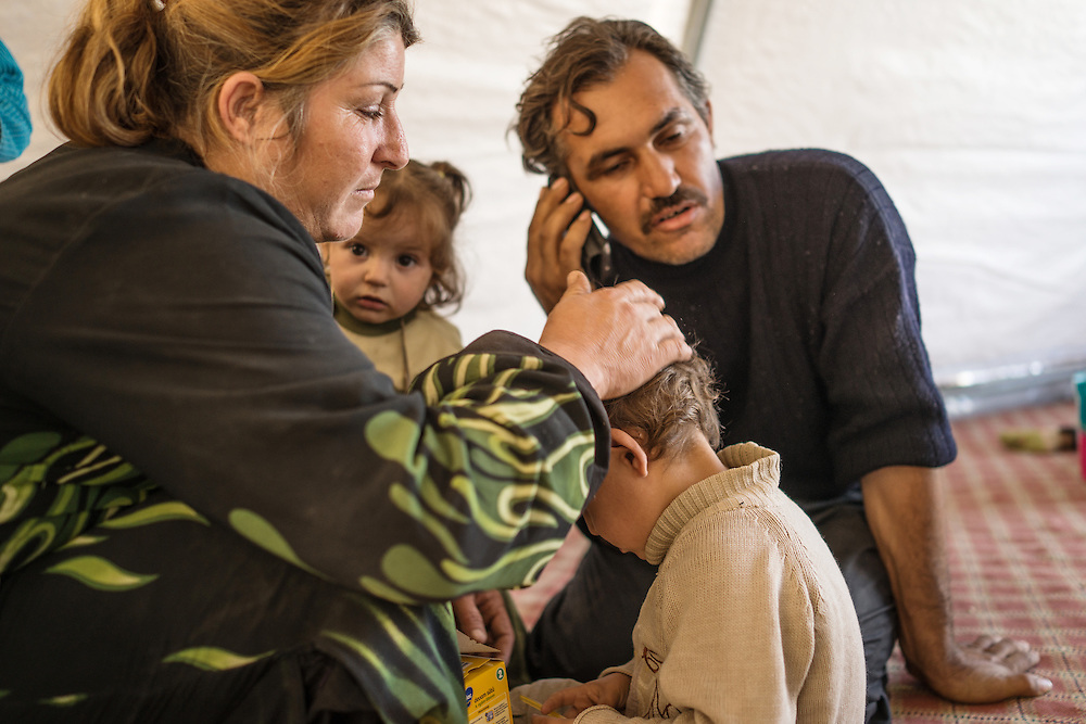 a family in the refugee camp in suruc
