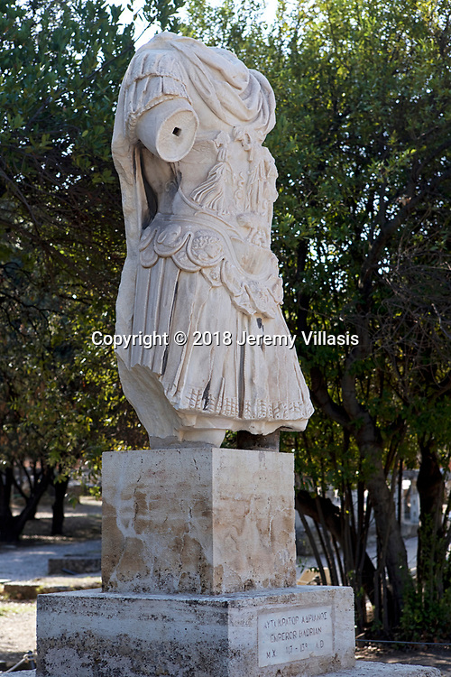 Statue of Hadrian in the Ancient Agora of Athens in Greece. Greek and Roman civilization, 2nd century BC.