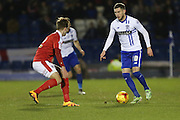 Danny Mayor of Bury in action with the ball during the Sky Bet League 1 match between Bury and Barnsley at The JD Stadium, Bury, England on 23 February 2016. Photo by Simon Brady.
