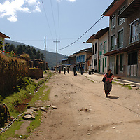 A look down the main road in the village of Phaplu, Nepal.