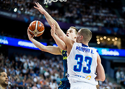 Klemen Prepelic of Slovenia vs Erik Murphy of Finland during basketball match between National Teams of Finland and Slovenia at Day 3 of the FIBA EuroBasket 2017 at Hartwall Arena in Helsinki, Finland on September 2, 2017. Photo by Vid Ponikvar / Sportida