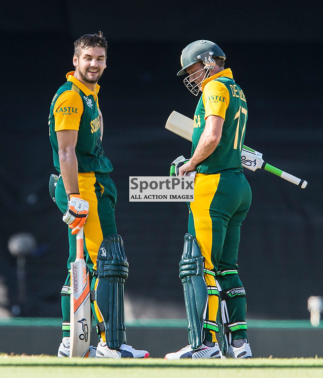 ICC Cricket World Cup 2015 Tournament Match, South Africa v West Indies, Sydney Cricket Ground; 27th February 2015<br /> South Africa&rsquo;s Rilee Rossouw (left) and South Africa&rsquo;s AB De Villiers between overs