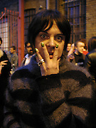 Genesis P-Orridge. Genesis P-Orridge and Eric Heist, Candy factory, painting, sculpture and Installation. the Centre of attention. Cottons gdns. London. 6 April 2001. © Copyright Photograph by Dafydd Jones 66 Stockwell Park Rd. London SW9 0DA Tel 020 7733 0108 www.dafjones.com