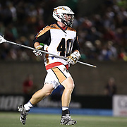 John Lade #40 of the Rochester Rattlers runs with the ball during the game at Harvard Stadium on August 9, 2014 in Boston, Massachusetts. (Photo by Elan Kawesch)