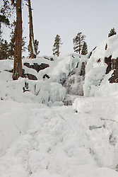 """Icy Eagle Falls 1"" - Photograph of frozen Eagle Falls above Emerald Bay, Lake Tahoe in the winter."