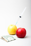 Concept image of genetically modified agricultural crops and money