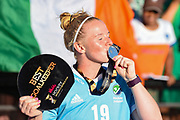 Ayeisha McFerran goalkeeper of Ireland (19) is awarded the best goalkeeper of the tournament medal and kisses it during the Vitality Hockey Women's World Cup 2018 Finals Gold Medal match between the Netherlands and Ireland, at the Lee Valley Hockey and Tennis Centre, QE Olympic Park, United Kingdom on 5 August 2018. Picture by Martin Cole.
