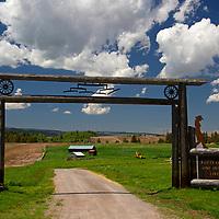 USA, Idaho, Swan Valley. Rural farmstead and big sky, Idaho.
