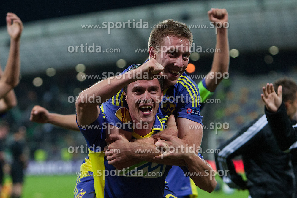 Robert Beric of NK Maribor and Ales Mejac of NK Maribor celebrate with teammates victory after football match between NK Maribor and Panathinaikos Athens F.C. (GRE) in 1st Round of Group Stage of UEFA Europa league 2013, on September 20, 2012 in Stadium Ljudski vrt, Maribor, Slovenia. (Photo By Matic Klansek Velej / Sportida)