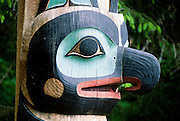 Alaska. Sitka. Close-up of totem pole in Sitka Nstional Historic Park.