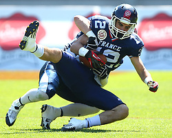 07.06.2014, Ernst Happel Stadion, Wien, AUT, American Football Europameisterschaft 2014, Spiel um Platz 3, Frankreich (FRA) vs Finnland (FIN), im Bild Paul  Durand , (Team France, WR , #12) und  Juhani Koivumaki, (Team Finland, DB, #36) // during the American Football European Championship 2014 game for place 3 between France and Finland at the Ernst Happel Stadion, Vienna, Austria on 2014/06/07. EXPA Pictures © 2014, PhotoCredit: EXPA/ Thomas Haumer