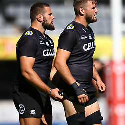 DURBAN, SOUTH AFRICA - MAY 04: Thomas du Toit of the Cell C Sharks with Tyler Paul of the Cell C Sharks during the Cell C Sharks captains run at Jonnsons Kings Park on May 04, 2018 in Durban, South Africa. (Photo by Steve Haag/Gallo Images)