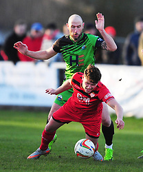 GOSPORTS LEE MOLYNEAUX PUSHES KETTERING TOWN MATTHEW STEVENS,  Kettering Town v Gosport Borough FC, Evo Stik Southern Premier League Latimer Park Saturday 25th November 2017, Score 2-0.<br /> Photo:Mike Capps