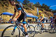 Professional cyclists at the Amgen Tour of California, Santa Monica Mountains, California USA