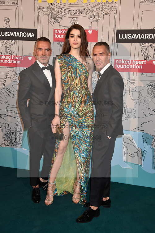 Alexandra Micu with Dean Caten and Dan Caten at the Fabulous Fund Fair in aid of Natalia Vodianova's Naked Heart Foundation in association with Luisaviaroma held at The Round House, Camden, London England. 18 February 2019.