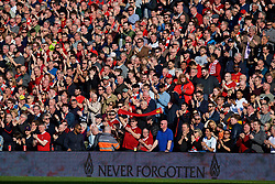LIVERPOOL, ENGLAND - Saturday, April 14, 2018: Liverpool supporters stand for a moment's applauds to remember the victims of the Hillsborough Stadium Disaster a day before the 29th anniversary, before the FA Premier League match between Liverpool FC and AFC Bournemouth at Anfield. (Pic by Laura Malkin/Propaganda)