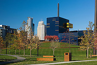 The new Guthrie Theatre by architect Jean Nouvel from Gold Medal Park with the Minneapolis skyline in the background. Guthrie theatre in Minneapolis, Minnesota.