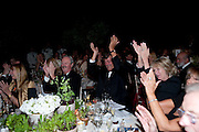 DUKE OF MARLBOROUGH; STEPHEN FRY; ANNABEL ELLIOT; LADY ANNABEL GOLDSMITH, The Ormeley dinner in aid of the Ecology Trust and the Aspinall Foundation. Ormeley Lodge. Richmond. London. 29 April 2009