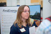 19082Fall Career Fair in Baker Center 10/08/08..First Energy ..Angela Durnan  talks to Esteban Hincapie