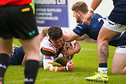 Bradford Bulls second row James Bentley (20) is brought down just short of the try line during the Kingstone Press Championship match between Swinton Lions and Bradford Bulls at the Willows, Salford, United Kingdom on 20 August 2017. Photo by Simon Davies.