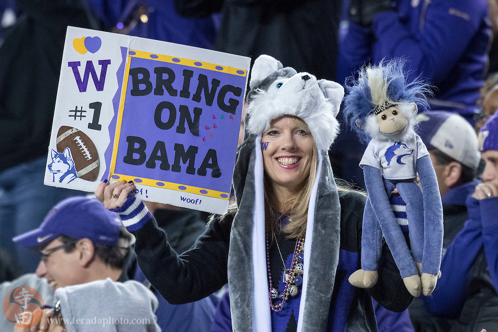 December 2, 2016; Santa Clara, CA, USA; A Washington Huskies fan holds up a sign during the fourth quarter in the Pac-12 championship against the Colorado Buffaloes at Levi's Stadium. The Huskies defeated the Buffaloes 41-10.
