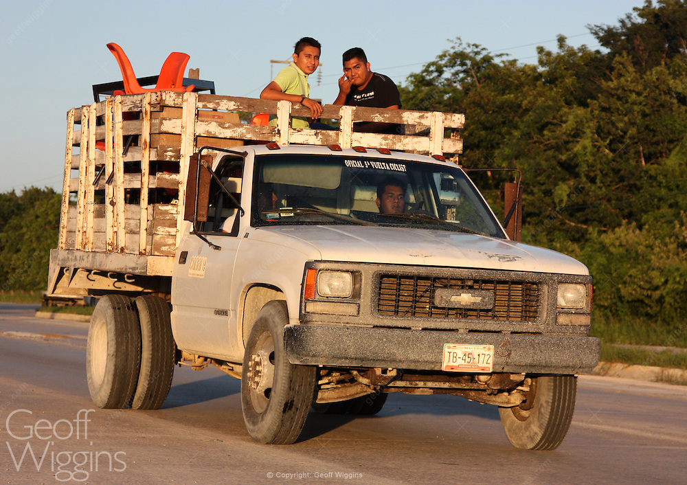 Mexican pickup truck on a country highway, southern Mexico, Central America