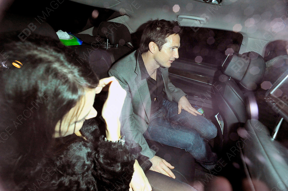 05.NOVEMBER.2011. LONDON<br /> <br /> FRANK LAMPARD AND CHRISTINE BLEAKLEY LEAVING THE PLAYBOY CLUB IN CENTRAL LONDON<br /> <br /> BYLINE: EDBIMAGEARCHIVE.COM<br /> <br /> *THIS IMAGE IS STRICTLY FOR UK NEWSPAPERS AND MAGAZINES ONLY*<br /> *FOR WORLD WIDE SALES AND WEB USE PLEASE CONTACT EDBIMAGEARCHIVE - 0208 954 5968*