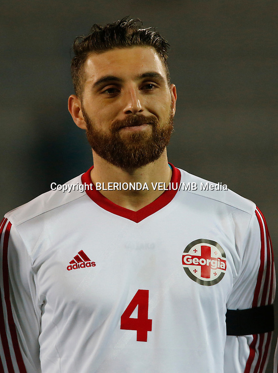 Georgia's National soccer team player Guram Kashia prior to the International friendly soccer match Albania vs Georgia held in Tirana, Albania on 16 November 2015.