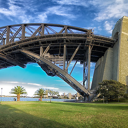 A panorama of Sydney Harbour Bridge taken from the eastern north shore side.