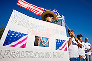 "01 MAY 2006 - PHOENIX, AZ: JORGE PINA, from Tucson, AZ, carries a sign during a demonstration for immigration reform during a ""Day without Immigrants"" rally in front of IFCO Systems in Phoenix, AZ, May 1. About 50 people gathered at IFCO, a pallet manufacturing business, to demonstrate of favor of immigration reform. IFCO plants across the US were raided by Department of Homeland Security agents two weeks during a sweep against illegal workers. Thirtyfive people were arrested at the IFCO plant in Phoenix.  Photo by Jack Kurtz"