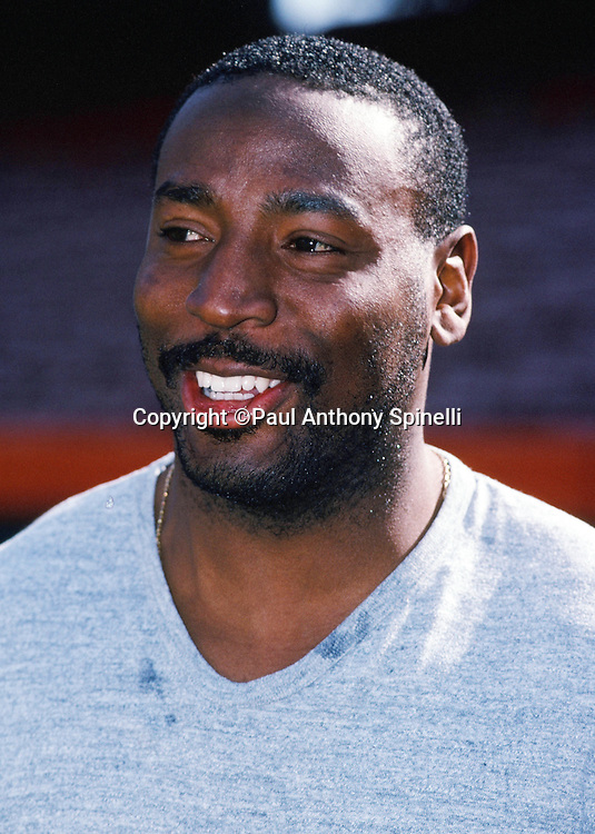 Washington Redskins running back Earnest Byner smiles on the sideline before the NFL football game against the Los Angeles Rams on Dec. 1, 1991 in Anaheim, Calif. The Redskins won the game 27-6. (©Paul Anthony Spinelli)