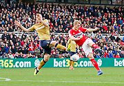 shot by Middlesbrough midfielder George Saville (22)  during the EFL Sky Bet Championship match between Middlesbrough and Nottingham Forest at the Riverside Stadium, Middlesbrough, England on 6 October 2018.