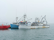 Lobster boats sit in a protected cove at Cape Forchu, Nova Scotia, Canada.
