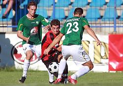 Nezbedin Selimi (11) of Primorje between Miha Golob (16) of Rudar and Boris Mijatovic (23) of Rudar at 6th Round of PrvaLiga Telekom Slovenije between NK Primorje Ajdovscina vs NK Rudar Velenje, on August 24, 2008, in Town stadium in Ajdovscina. Primorje won the match 3:1. (Photo by Vid Ponikvar / Sportal Images)