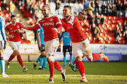 Charlton Athletic midfielder Ricky Holmes (11) is joined by Charlton Athletic Jake Forster-Caskey (19) to celebrates his goal (score1 - 0) during the EFL Sky Bet League 1 match between Charlton Athletic and Fleetwood Town at The Valley, London, England on 4 February 2017. Photo by Andy Walter.