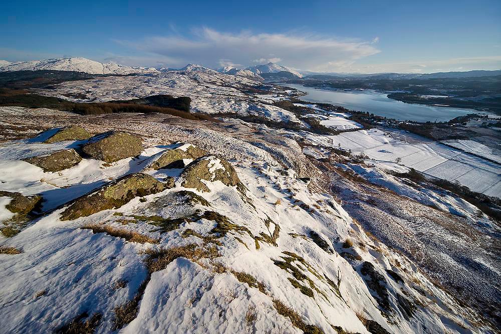 Winter view towards Loch Etive & Ben Cruachan as seen from Ben Lora, Argyll.