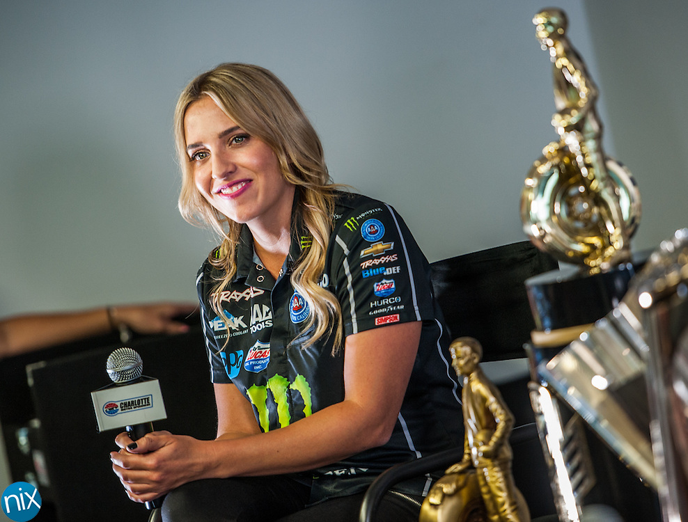 NHRA Top Fuel driver Brittany Force answers questions during a media event at zMAX Dragway Wednesday afternoon ahead of the NHRA Carolina Nationals and NASCAR's Bank of America 500. Charlotte Motor Speedway is the only motorsports facility to host playoff races in both series.