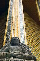 Stone Buddha Wat Phra Kaew near Royal Grand Palace Bangkok Thailand&#xA;<br />