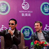 HAIKOU, CHINA - OCTOBER 27:  Chinese actor Chan Dao Ming and Hollywood super star actor Christian Slater of USA attend the opening  press conference of the Mission Hills Star Trophy on October 27, 2010 in Haikou, China. The Mission Hills Star Trophy is Asia's leading leisure liflestyle event and features Hollywood celebrities and international golf stars.  Photo by Victor Fraile / studioEAST
