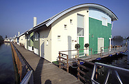 NLD, the Netherlands, Gelderland, Maasbommel, flood protected amphibian homes at the river Meuse <the cellar of the houses is a waterproofed, floatable tub made of concrete, which lifts the buildings with the rising waters, the houses can rise up to 5,5 meters with the water level, they are mounted at two steel pylons to prevent them against leeways>.....NLD, Niederlande, Gelderland, Maasbommel, hochwassersichere Amphibienhaeuser an der Maas <der Keller der Haeuser ist eine wasserdichte, schwimmfaehige Wanne aus Beton, die bei steigendem Wasser fuer genuegend Auftrieb sorgt, die Haeuser koennen bis zu 5,5 Meter mit dem Wasserspiegel der Fluten steigen, sie sind an zwei Stahlpylonen gegen das Abdriften gesichert>...