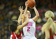 February 16 2011: Iowa Hawkeyes guard Kamille Wahlin (2) puts up a shot during the first half of an NCAA women's college basketball game at Carver-Hawkeye Arena in Iowa City, Iowa on February 16, 2011. Iowa defeated Wisconsin 59-44.