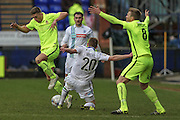 Jeff Hughes (Tranmere Rovers) stretches for the ball as Andy Wright (Southport) claims for a foul - not given during the Vanarama National League match between Tranmere Rovers and Southport at Prenton Park, Birkenhead, England on 6 February 2016. Photo by Mark P Doherty.